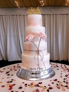 Water colour wedding cake with sugar flowers Milton keynes Northampton