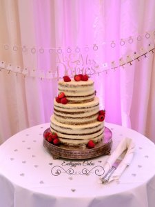 Semi Naked wedding cake with strawberries Milton Keynes Northampton Deanshanger Horwood House