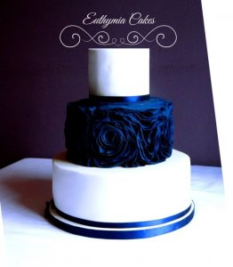 Navy Blue three tier ruffled wedding cake Milton Keynes Northapton