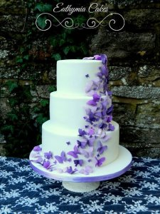 white wedding cake with purple butterflies Milton Keynes, Northampton