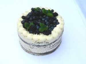 Semi naked birthday cake with blueberries and blackberries Euthymia Cakes Milton Keynes
