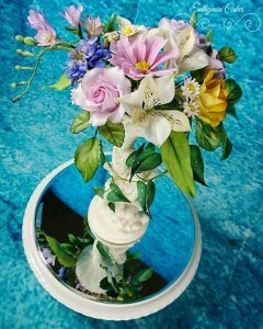 Wedding cakes sugar flowers roses, freesia, daisy cosmos, alstromeria, pincushion scabious