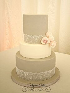 Wedding cakes grey and white with blush roses Euthymia Cakes Milton Keynes Northampton Praha