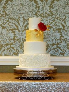 Red and gold wedding cake Euthymia cakes Milton Keynes Northampton Hanslope