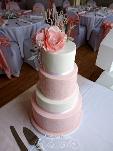 Romantic white and peach 4 tier wedding cake with sugar flowers peonies, roses and eucalyptus, Hanslope, Milton Keynes, Northampton, rugby club