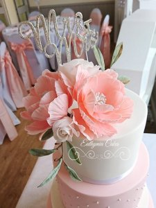 Romantic white and peach 4 tier wedding cake with sugar flowers peonies, roses and eucalyptus,Hanslope, Milton Keynes, Northampton, Rushden, rugby club