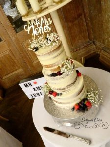 semi naked wedding cake with gypsophilla and fresh berries Fawsley Hall