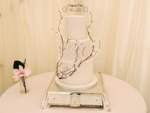 Wedding cake with cherry blossoms pearls japanese asian weddings