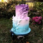 Celebration Cakes butterfly ombre airbrushed effect in purple and turqouise Milton Keynes, Bedfordshire Best chocolate cake, Oreo cake, gorgeous carrot cake Vegan birthday cakes
