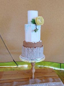 Luxury Wedding Cake beach themed cake with sugar ranunculus Milton Keynes Northampton London