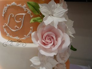 Luxury wedding cake sugar flowers and rose gold Milton Keynes Northampton London