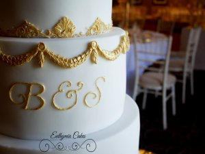 Luxury wedding cake in white and gold Milton Keynes Northampton London