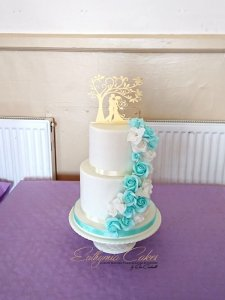 White and Turquoise wedding cake Milton Keynes