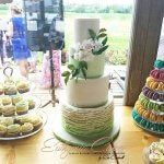Mint sweet table wedding cake French macarons cupcakes