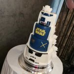 Star Wars reveal wedding cake with sugar flowers