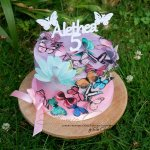 5th birthday ombre cake with edible paper butterflies