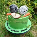 Guinea Pigs birthday cake with sugar fruit and vegetables